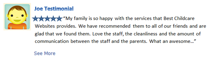 Best Childcare Websites Parent Testimonial